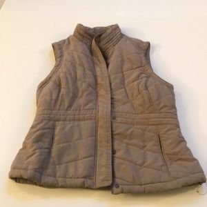 Beige Sonoma winter vest with plaid lining
